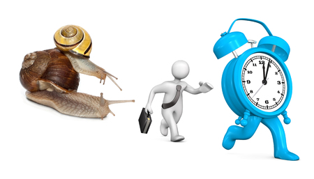 Two snails with running manikin and blue alarmer on the white background.  Stock Photo