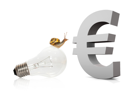 Snail on bulb with big symbol of euro on the white. 3d illustration.