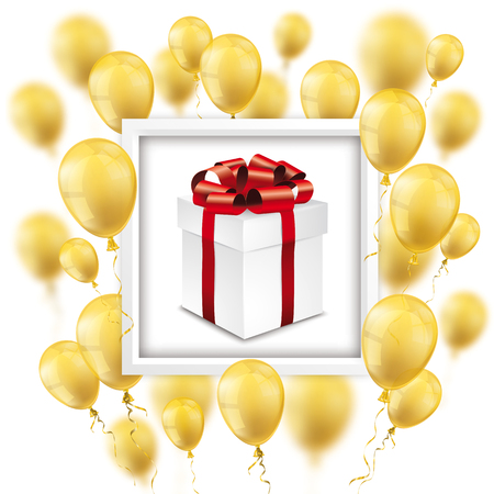 Gift box with golden balloons on the white. Eps 10 vector file. Illustration