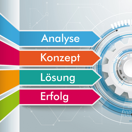 German text Analyse, Konzept, Loesung, Erfolg, translate Analysis, Concept, Solution, Succuss. Eps 10 vector file. Illustration