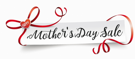 Paper banner with ribbon, hearts and text Happy Mothers Day Sale. Eps 10 vector file.