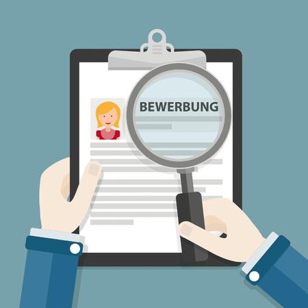 solicitation: German text Bewerbung, translate Application. Eps 10 vector file. Illustration