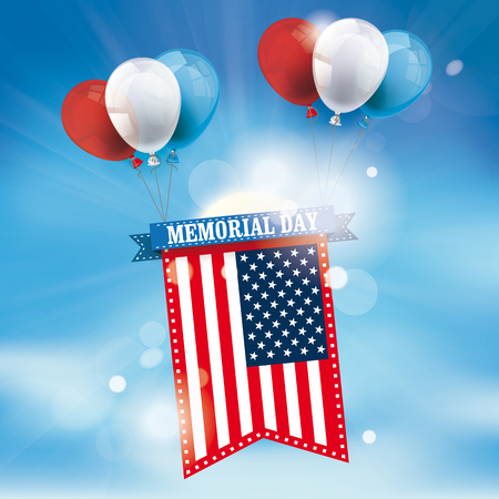 Coored balloons with US-Flag on the background with clouds, blue sky and sun. Eps 10 vector file.