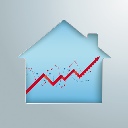 House hole with growth chart. Eps 10 vector file.