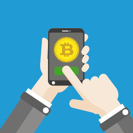 Flat design with human hand, smartphone and golden bitcoin. Eps 10 vector file. Illustration