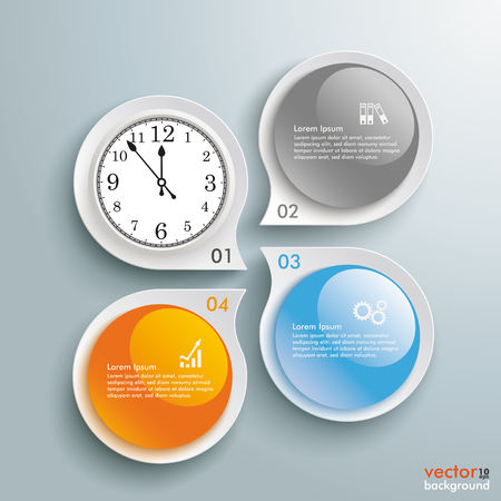 glas 3d: Infographic with drop shapes and a clock on the gray background. Eps 10 vector file.