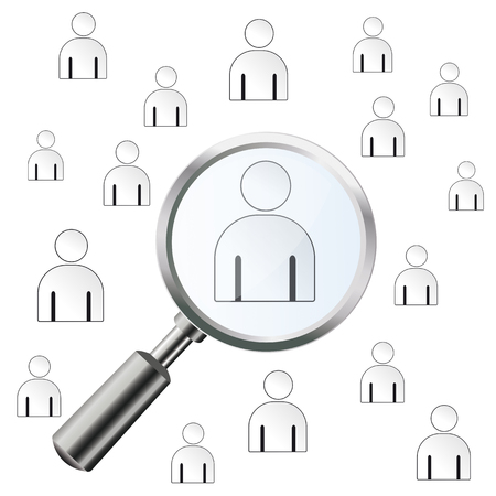 finding: Loupe with humans on the white background. Eps 10 vector file. Illustration