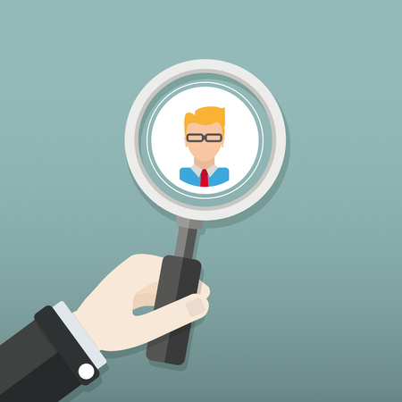 Hand with loupe and face of the businessmanEps 10 vector file.