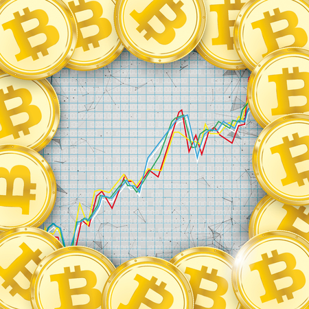 Abstract background with golden bitcoins, chart, connected dots and data. Eps 10 vector file. Illustration