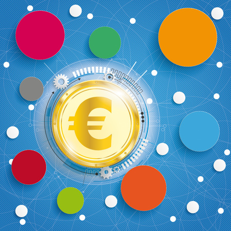 Golden euro on the blue background with circles. Eps 10 vector file. Illustration