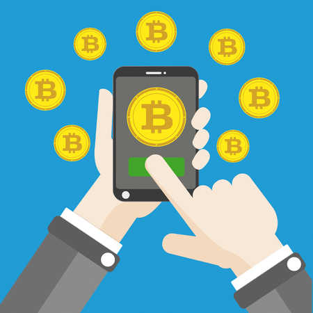 disposition: Flat design with human hand, smartphone and golden bitcoins. Eps 10 vector file.