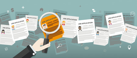 hand job: Hand with loupe over the job applications. Eps 10 vector file. Illustration