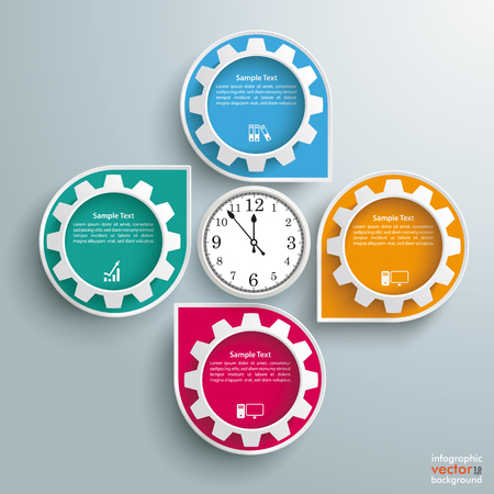 Infographic design white markers, clock and gears on the gray background. Eps 10 vector file.