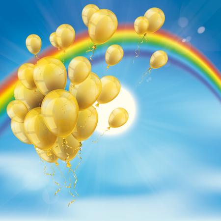 金色の風船、雲、青い空と太陽の束と虹。Eps 10 ベクトル ファイル。 写真素材 - 79577194
