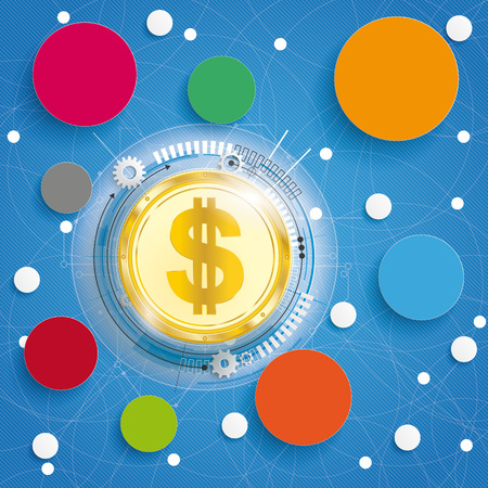Golden Bitcoin on the blue background with circles. Eps 10 vector file. Illustration