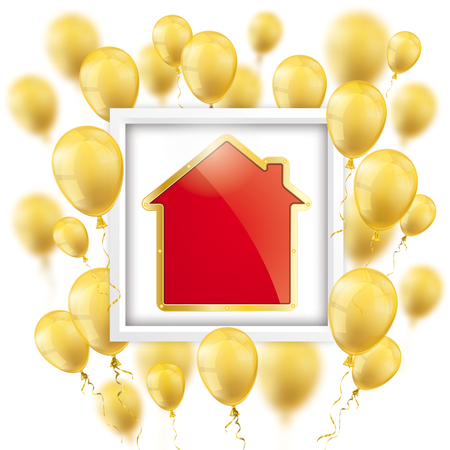 Golden house with white frame and golden balloons on the white. Eps 10 vector file. Illustration