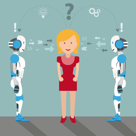 2 robot cartoons with a woman on the gray background. Eps 10 vector file. Illustration