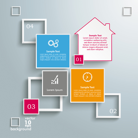 Conception infographique avec maison, carrés et cadres sur le fond gris. Fichier vectoriel EPS 10. Banque d'images - 79577630