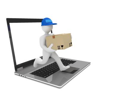 Lopende mannequin met pakket en notitieboekje op het wit. 3D illustratie. Stockfoto