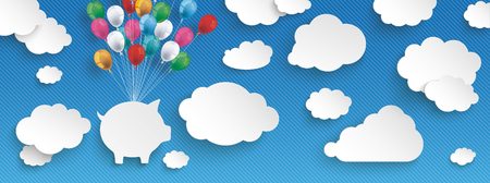 savings account: Paper clouds and hanging piggy bank  with colored balloons on the blue background.