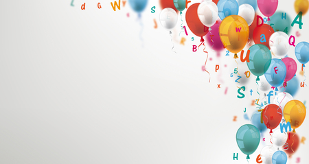 Colored balloons and letters on the gray background. Ilustração