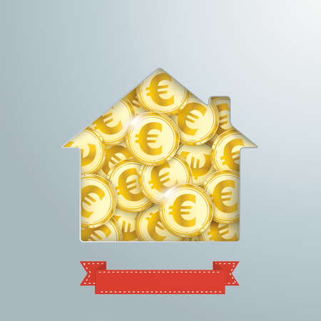 House hole with golden euro coins and red ribbon.