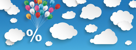 per: Paper clouds and hanging percent  with colored balloons on the blue background
