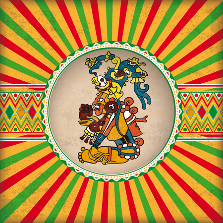 Retro sun with hole, maya god and mexican colors.
