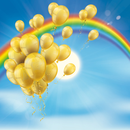 Rainbow with bunch of golden balloons, clouds, blue sky and sun.