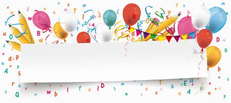 White paper banner with pencils, bunting, balloons and letters. Banco de Imagens - 80732538