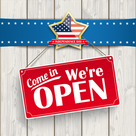 """Red hanging sign with text """"Come in, we're open""""."""