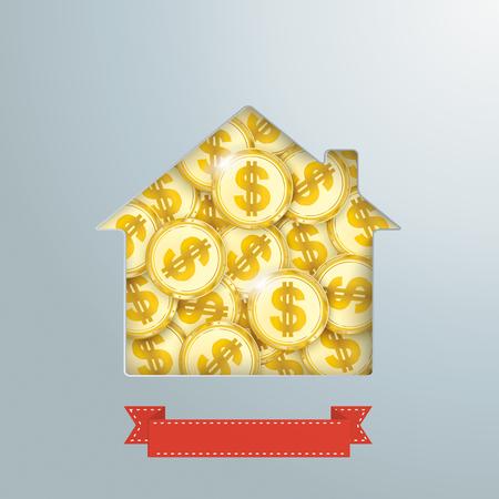 Trou de la maison avec des pièces d'un dollar d'or et une bannière. Banque d'images - 80732552