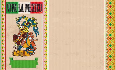 Fond vintage avec sombrero, ornements mexicains et texte Viva La Mexico. Banque d'images - 80732933