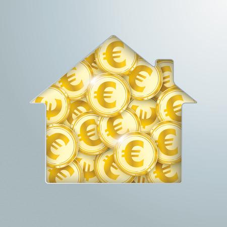 Trou de la maison avec les pièces d'or en euros. Banque d'images - 80732949