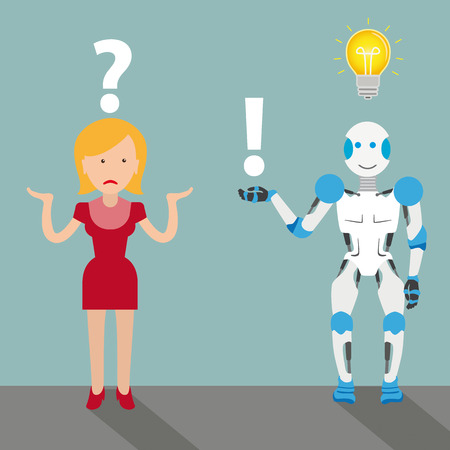 Robot cartoon with woman, question, answer and bulb on the gray background