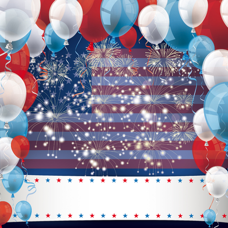 US flag with colored balloons and fireworks on the blue background.