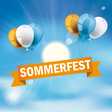 German text Sommerfest, translate Summer Fair Illustration