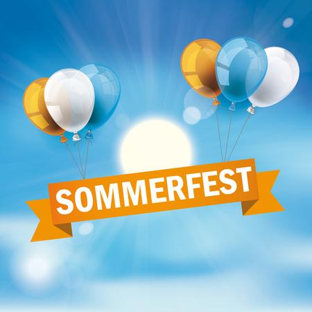 German text Sommerfest, translate Summer Fair Illustration
