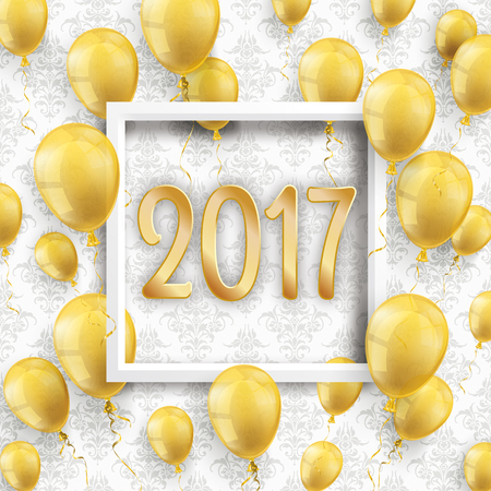 birthday party: Golden balloons with white frame and numbers 2017 on the wallpaper with ornaments.