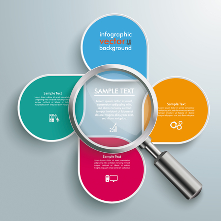 infochart: Infographic design white markers and loupe on the gray background.
