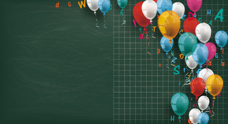 Long blackboard with colored balloons and letters. Banco de Imagens - 80733161