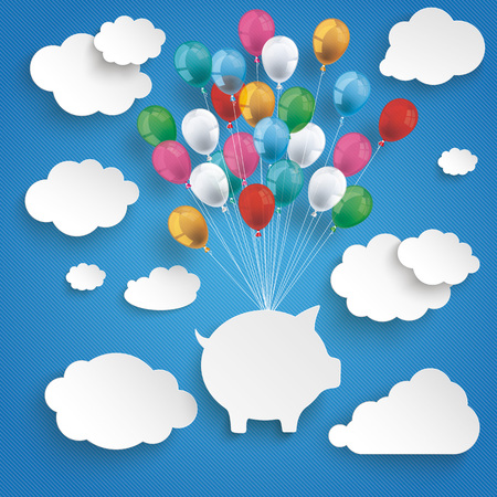 Paper clouds and hanging piggy bank with colored balloons on the blue background Illustration
