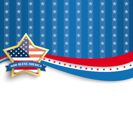 Golden star with ribbon and text God Bless America.