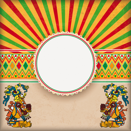 Vintage background with mexican ornaments, emblem, maya gods and retro sun Illustration