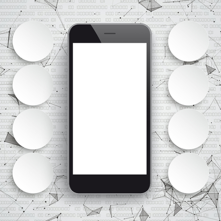 smartphone apps: Abstract background with black smartphone, connected dots and data.