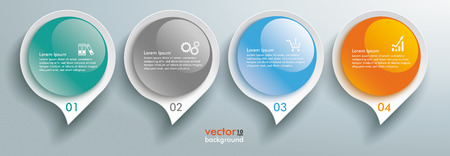 Infographic with glossy speech bubbles on the gray background. Illustration