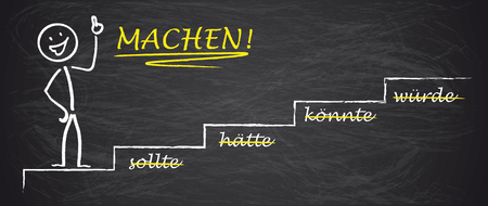 beginnings: German text sollte, haette, koennte, wuerde, Machen!, translate should, should have, could, would, Make! Illustration