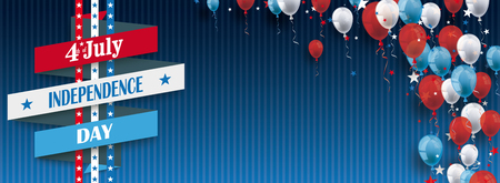 Vintage header with striped background, balloons and ribbon for the 4th of july. Illustration