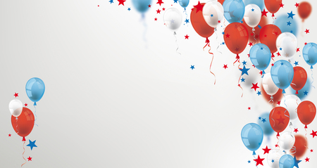 Blue, white and red balloons and stars on the gray background.