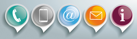 Contact icons with glossy speech bubbles on the gray background.